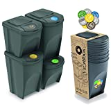 Prosperplast Juego de 4 Cubos de Reciclaje (2x35L y 2x25L) Sortibox de plastico en Color Gris, 2 Grandes + 2 pequeños