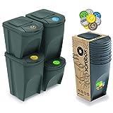 Prosperplast Juego de 4 Cubos de Reciclaje (2x35L y 2x25L) Sortibox de plastico...