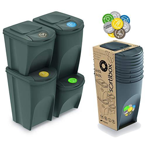 Prosperplast Sortibox Mülleimer Mülltrennsystem Abfalleimer Behälter (2x25L 2x35L, Grau)