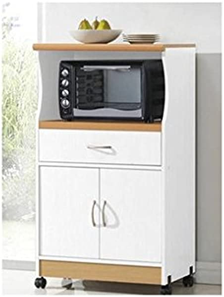 Microwave Cart Stand White Finish One Shelf For The Microwave And Another Shelf Above Plus A Drawer And Cabinet Below