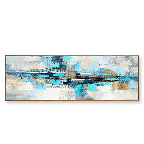 Moderna Sobre Carteles Cuadro En Lienzo,Pintura Azul Marino Imágenes Abstracta Impresiones De La Lona Arte De La Pared Para La Decoración De La Sala De Estar-(Sin Marco)(60x180cm)