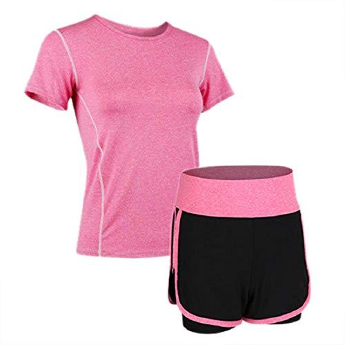 Irevial Ropa Deportiva Mujer Conjuntos Verano,elásticas Cómodo Manga Corta Camiseta y Pantalones Corto Chandal Mujer, para Gym Yoga Jogger Fitness