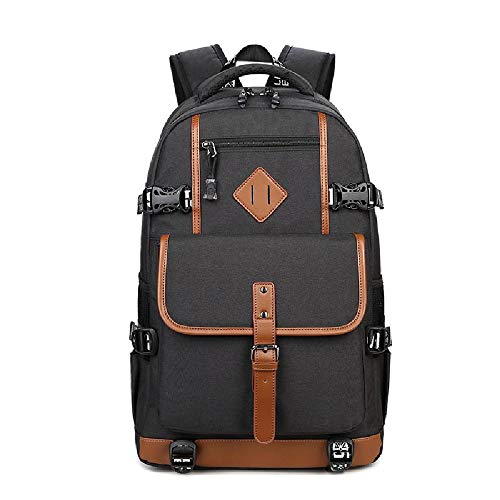 XWQYY Backpack male 19-inch junior and high school student school bag leisure outdoor travel backpack Oxford cloth computer bag,Black-19 inches