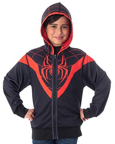 Marvel Comics Boys' I Am Spiderman Miles Morales Reversible Costume Full-Zip Hoodie (Small)