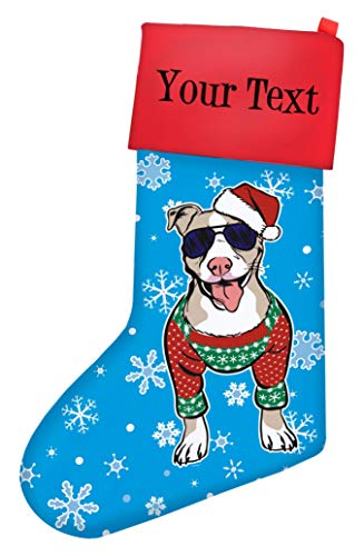 Pitbull Lover Gifts Customized Name Christmas Sweater Dog Stocking Personalized Christmas Stocking