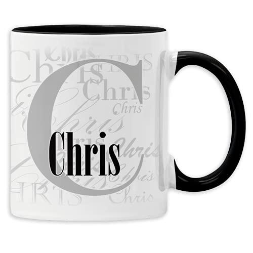 Namenstasse mit Wunschnamen Buchstabentasse personalisierte Kaffee-Tasse mit Namen aus Keramik (Schwarz)