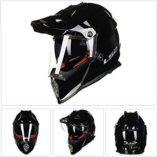 ZHXH Casco todoterreno motocicleta casco de colisión montaña casco integral/certificación DOT/protección de cuatro ruedas casco completo gafas dobles (negro/blanco)