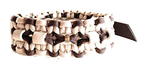 Viva Nature Handmade EM-Keramik Zeckenhalsband Zecken-Schutz-Halsband/verstellbar Paracord (35-45 cm, Braun Beige)