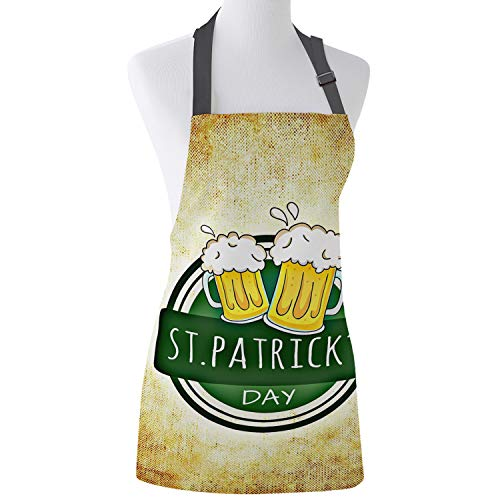 Teather St Patrick Kitchen Apron Retro Desifn Cheer Beer Unisex Home Cooking Bib Aprons with Adjustable Neck for Baking Gardening BBQ 26x31inch