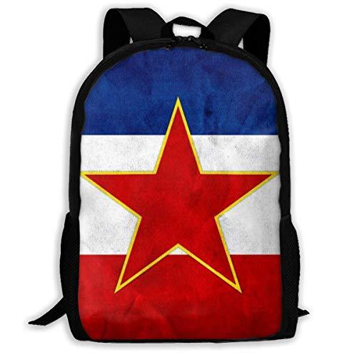 School Rugzakken voor tiener meisjes jongens Kids School Reizen Outdoor Daypacks-Vintage Joegoslavië vlag