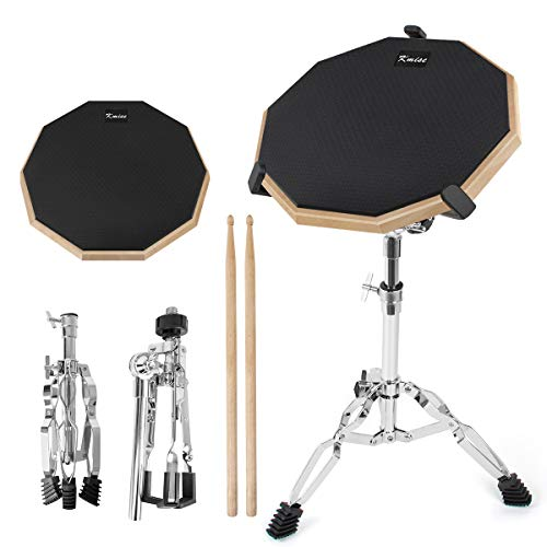 Practice Drum Pad, 12 Inch Exercise Pads Set Mat for Adult Kids with Snare Drums Stand Double Sided Drumsticks