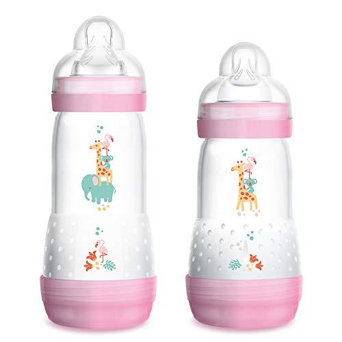 MAM Anti-Colic Flasche 2er Set, 260 ml & 320 ml, Sauger Gr.1 & Gr.2, mitwachsend, selbst-sterilisierend