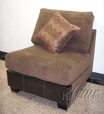 Sofa Chair with 1 Pillow Chocolate Microfiber Brown Bycast