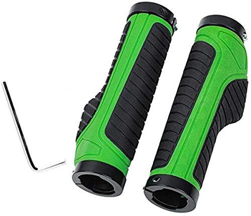Mango de bicicleta, cómodo mango de goma antideslizante para bicicletas, adecuado para bicicletas de montaña, bicicletas de carretera y bicicletas plegables con un diámetro de 22,2 mm. (Verde)