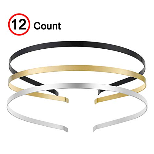 Womens Metal Headbands with 3 Colors Black Gold Silver Plated Hairband Head Bands Pack of 12