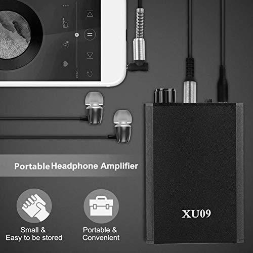 XU09 HiFi Headphone Amplifier, Portable USB Digital Stereo Heavy Bass Amp, Impedance 16-150Ω, 3.5mm Audio Earphone Amplifier for Digital Players/Computer/Cell Phone/ MP3