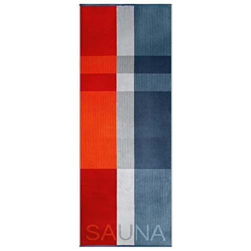 Egeria Saunatuch Liam XXL 75x200 cm | Dreifarbiges Karomuster (Rot · Grau · Blau) | Unisex für Damen und Herren