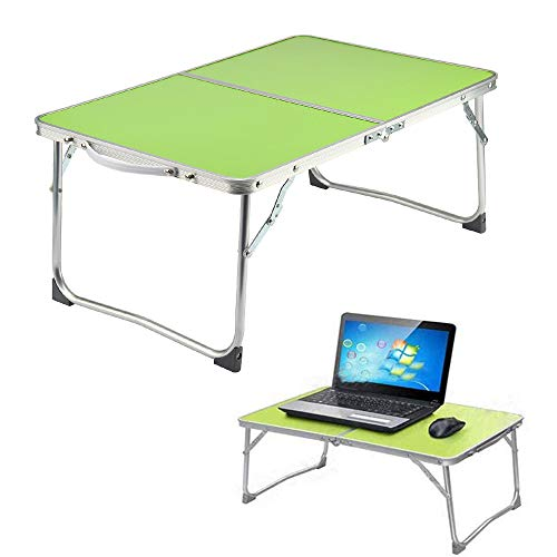 Efan Portable Folding Laptop Table, Folding Camping Table, 60x40×26cm Notebook Stand Reading Holder, for Breakfast Serving Bed Tray, Writing, Study, Student Dorm Bed Desk, Outdoor Picnic, Green