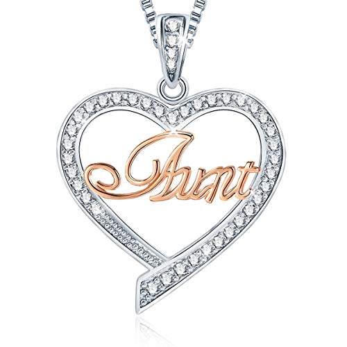 Ado Glo Christmas Aunty Birthday Gift, Aunt Two Tone Love Heart Pendant Necklace, Fashion Jewelry for Women, Anniversary Xmas Present from Niece Nephew to Her Auntie
