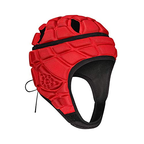 TUOY Soft Protective Helmet Headgear for Rugby Soccer Flag Football - Red (M (9-14 Age))