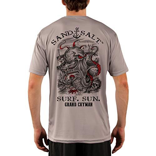 SAND.SALT.SURF.SUN. Grand Cayman Islands Octopus Treasure Men's UPF 50+ UV Sun Protection Performance Short Sleeve T-Shirt XX-Large Athletic Grey
