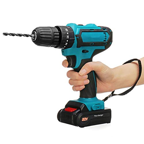 drill with tools 32V MAX Cordless Drill 2 Battery Electric Screwdriver 2 Speed Impact Drill Power Driver 3 IN1 Electric Hammer Hand Drill