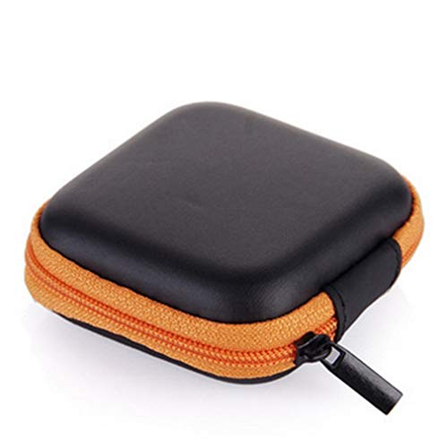 Grandiy Square Earphone Carrying Cases Mobile Phone Charger Data Cable Storage Bag,Orange