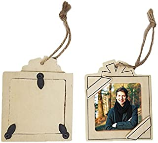 Unfinished Wood Ornaments Square Present Picture Frame - Package of 12