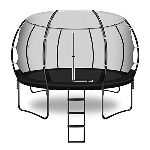 QXTT Trampolines For Kids 14ft With Enclosure Trampoline Outdoor With Net Adults Waterproof Garden Trampoline With Ladder Safety Pad Jumping Mat Spring Pull Hook Include All Accessories
