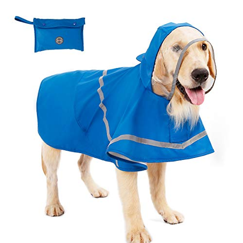 PUMYPOREITY Reflective Dog Raincoat with Hood & Harness Hole for Small Medium Large Dog Puppy, Waterproof Hoodie Rain Jacket Poncho Clothes with Storage Bag,Magic Tape Closure Adjustable, Easy to Use