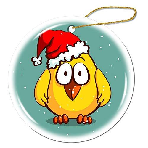 Wendana Kerst Kip In Hoed Ronde Keramische Kerst Ornamenten Keepsake Ornamenten Kerstboom Decoraties Kerstmis Geschenken voor Kinderen Vrouwen Tiener Meisjes