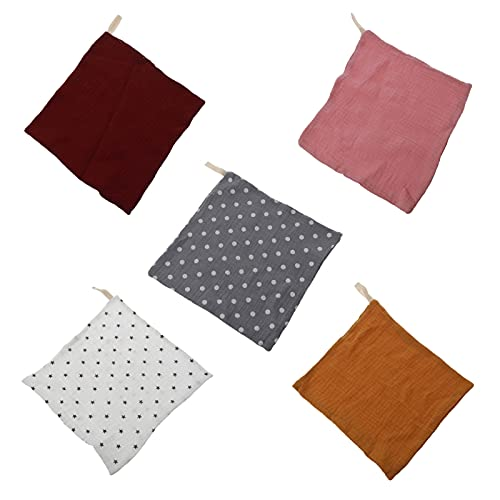 xingwang Toalla facial 5 piezas de toallas de muselina para la cara de la mano de la tela de la muselina Toallitas para la cara del babero de la saliva, pañuelo, pañuelo, 54DA (color: 7HH103790)