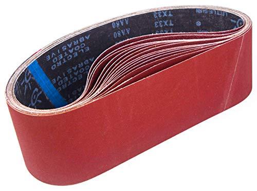 Schleifbänder, 100 x 915 mm,Schleifband Set je 3 x Korn 80/120/150/240/400 für Bandschleifer Schleifmaschine, Zum Schleifen, Feilen, Schärfen und Entrosten (15 Stück)-STEBRUAM