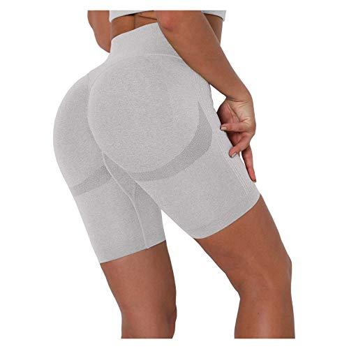 Womteam Pantalones cortos de yoga sin costuras para mujer, cintura alta, levantamiento de caderas, deportes, fitness, correr, yoga, pantalones cortos
