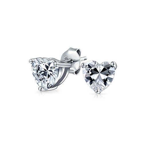 .75CT cúbica Zirconia corazón en forma de corazón CZ solitario pendientes para las mujeres para la novia 925 plata de ley 6MM