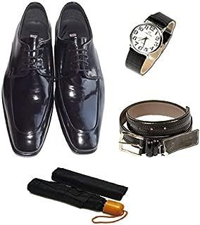 Eray Kundura Klasik Siyah Düz Erkek Ayakkabısı + Kemer + Kol Saati + Şemsiye