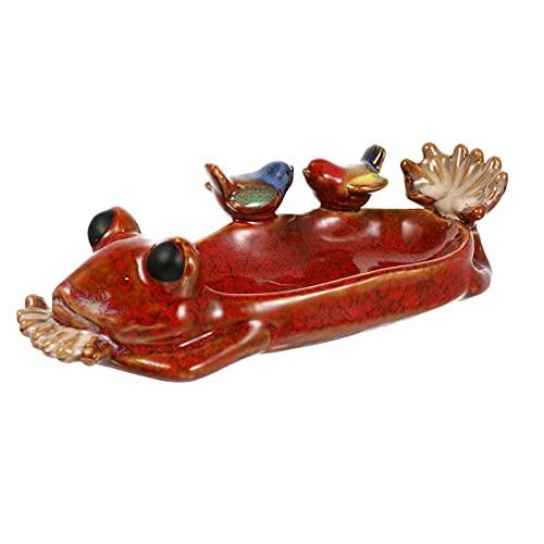 Happyyami Soporte de Anillo de Cerámica Joyería Pájaro Lavabo Alimentador Vintage Baratija Exhibición Organizador Tazón para Collar Pendiente Pulsera Bandeja Ornamento