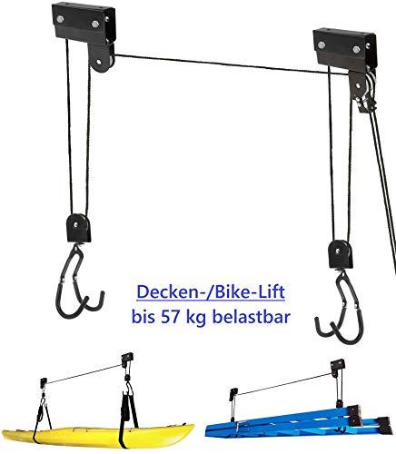 P4B | Elevador de bicicleta | elevador de techo | elevador mecánico | adecuado para cargas de hasta 57 kg para el almacenamiento de objetos pesados