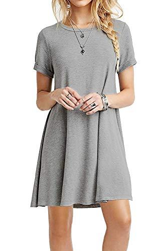 YOUCHAN Kleid Damen Sommerkleid Freizeitkleid Shirtkleid T-Shirt Bluse Tunika Kurzarm Leger Langes Locker Kleider-Grau-S