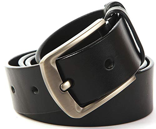 Solid Leather Goods Mens Belt - Heavy Duty Genuine Full Grain Cowhide Leather Belts for Men - Casual Mens Leather Belt - Dress Belt with Classic Single Prong Buckle - Premium Mens Belts for Jeans