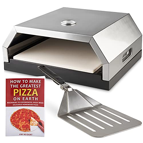 Pizza Oven – Professional Outdoor Pizza Oven with Pizza Peel and Recipe Book – BBQ Pizza Oven for Outdoor BBQ Charcoal Grill and Gas Grill – Easy to Read Temperature Gauge – Removable Stone Base