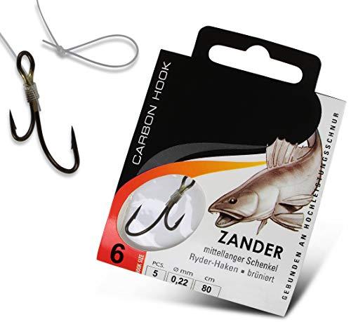 Ryderhaken Zielfisch Haken Zanderhaken, fertig gebunden, 80 cm lang, Größe:6