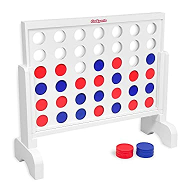 GoSports Giant Wooden 4 in a Row Game - 2 foot Width - Huge 4 Connect Family Fun with Coins, Case and Rules