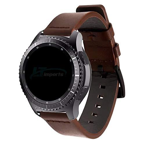 Pulseira de Couro 22mm compatível com Samsung Galaxy Watch 3 45mm - Galaxy Watch 46mm - Gear S3 Frontier - Gear S3 Classic - Amazfit GTR 47mm - Marca Ltimports (Marrom-Escuro)