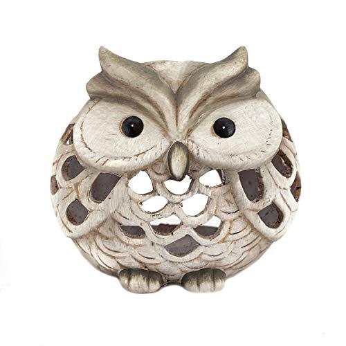 Windlicht Eule, Keramik Eule, matt - braun/beige/grau
