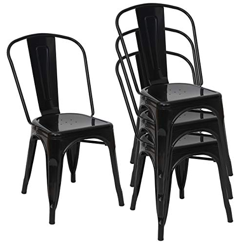 Mendler 4X Stuhl HWC-A73, Bistrostuhl Stapelstuhl, Metall Industriedesign stapelbar - schwarz