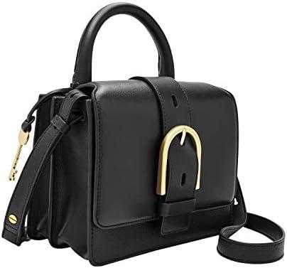 Fossil Women s Wiley Leather Top Handle Flap Crossbody Handbag Black product image