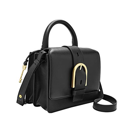 Fossil Women's Wiley Leather Top Handle Flap Crossbody Handbag, Black