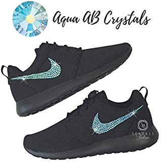 2cab95a962992 NIKE Roshe One Casual Shoes with Swarovski All BLACK Bedazzled Kicks