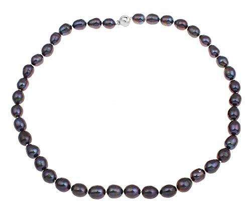 TreasureBay Elegante Halskette mit Süßwasserperlen, 9-10 mm, 46 cm, Schwarz